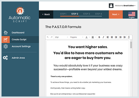 full-blown sales script that's ready for you to review