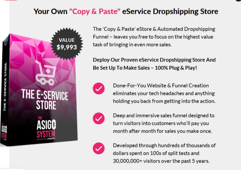 Asigo system for dropshipping