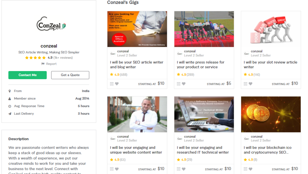 Conzeal Best Content Writers To Hire On Fiverr