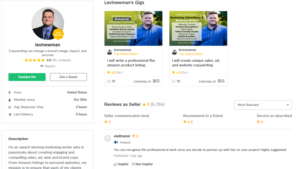 Levinewman Best Content Writers To Hire On Fiverr