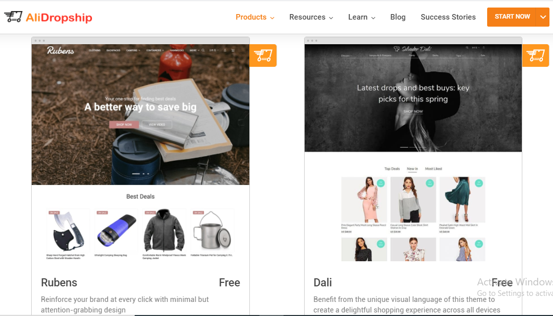 Alidropship offers free themes