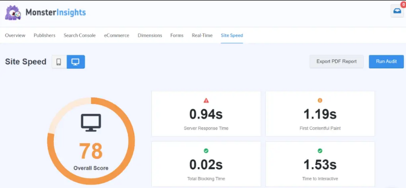 Core Web Vitals With MonsterInsights Site Speed Report