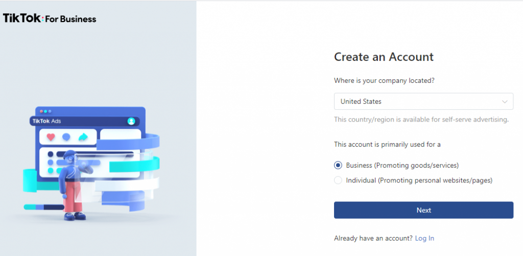 Create TikTok ads account managers