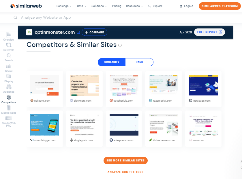 SimilarWeb Competitor Analysis